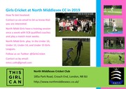 Nike Sponsored Free Girls' Cricket Camp August 6th North Middlesex CC