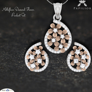 Diamond Flower Pendant Set