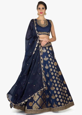 Navy Blue Brocade Lehenga