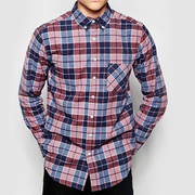 Red-blue-and-beige-checked-Flannel-Shirt