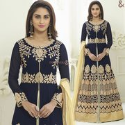 Bollywood Star Krystle D'Souza Dressed Blue N Cream Front Cut Suit