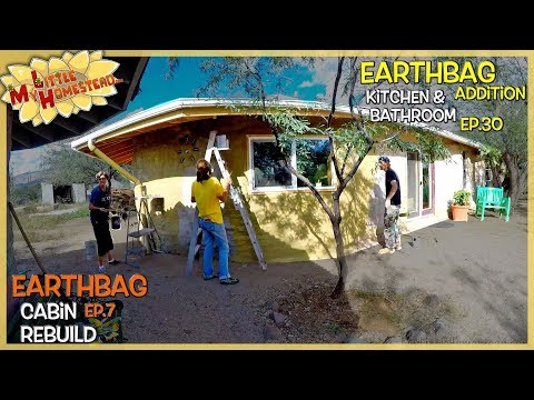Cabin Stucco, Paint, Insulation & Homemade RV Wood Stove | Earthbag Kitchen & Bath Ep30| Cabin Ep7
