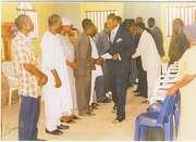 The Bishop shakinghand with Gboko Pastors