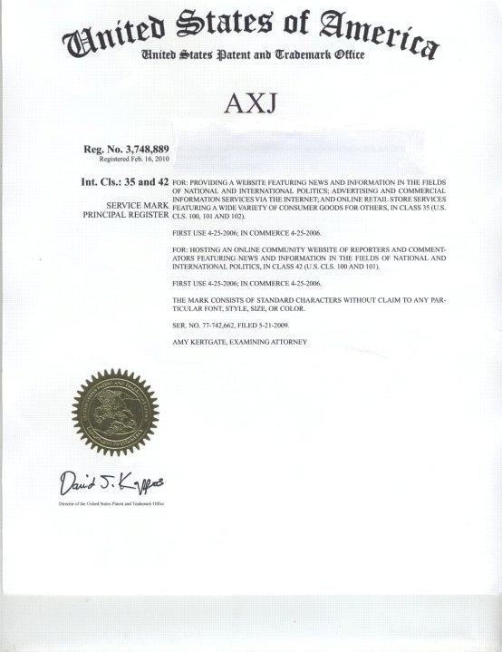 LEGAL DOCUMENTS - AXJ