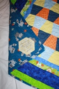 Baby quilt for little Olivier - Backing and hexie tag