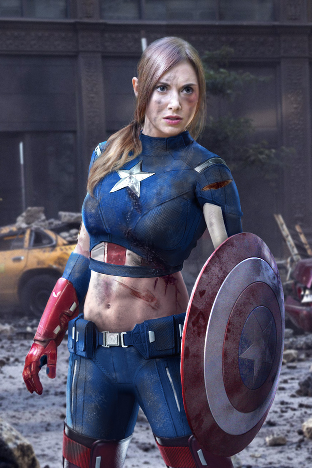 Alison Brie dressed as Captain America