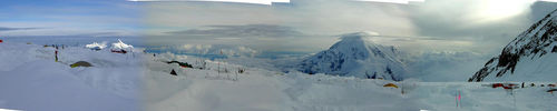 Panorama from 14,200 feet on the West Buttress of Denali