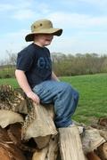Bradley on Wood Pile