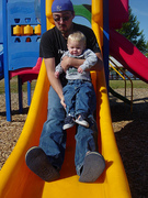 Seth and Logan coming down the slide
