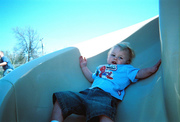 Logan coming down the slide