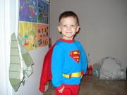 Brogan in his Superman PJs
