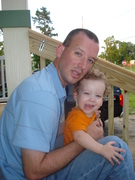 Daddy and Liam on our new porch steps