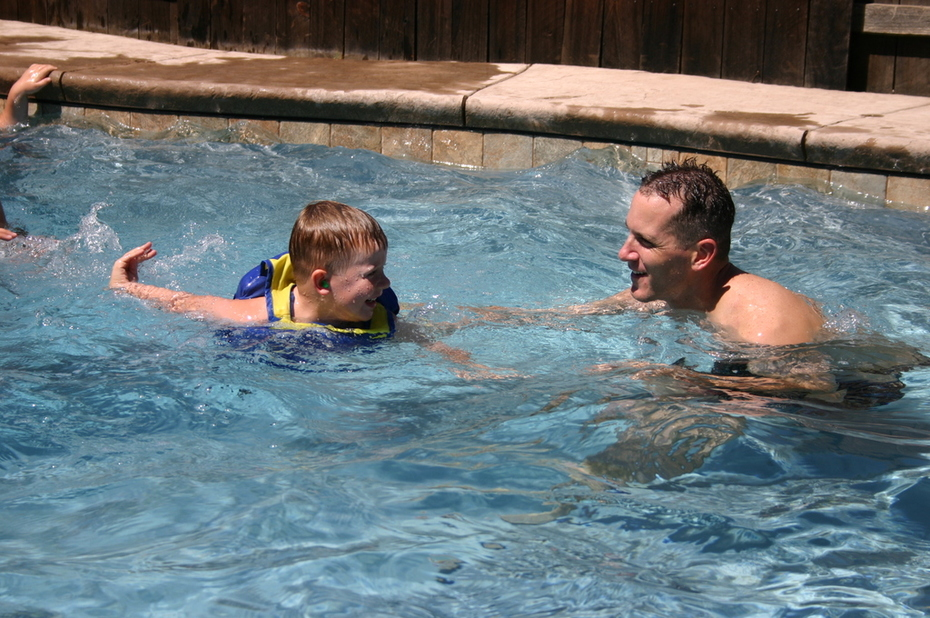 aiden and daddy pool