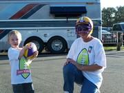 Wyatt and Granny playing football