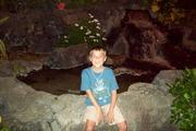 Justin at waterfall on Wakiki Beach