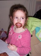 Ella with cup cake goatee