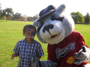 Michael with Sacramento River Cats baseball mascot