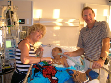 after open heart surgery - thumbs up, he did great