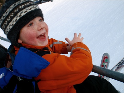 Liam on the ski lift