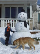 Me, The Snowman and Amber - My service dog