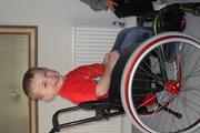 Sam in his new wheels (April 2009)