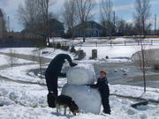 Building the Snowman with Dad & Katie the dog