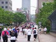 Spectators heading to mile 5