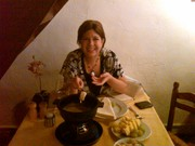 First time eating cheese fondue Brugge