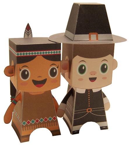 Native American Girl and Pilgrim Boy