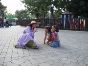 Patti tells stories to young listeners at LEGOLAND CA