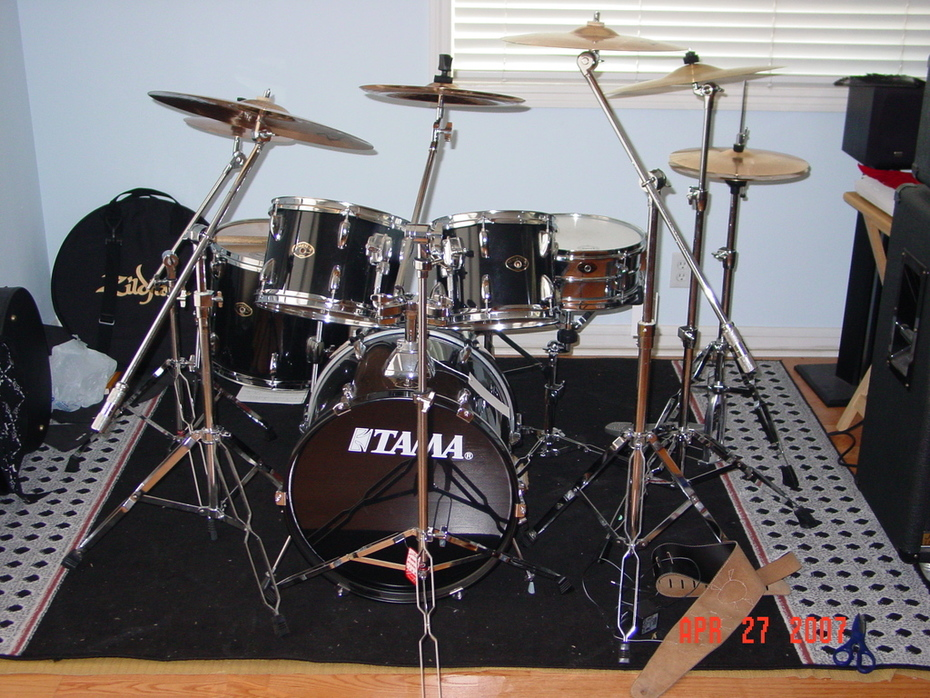 Jordan's drum set w/ new cymbals