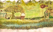 apple tree and farm gate
