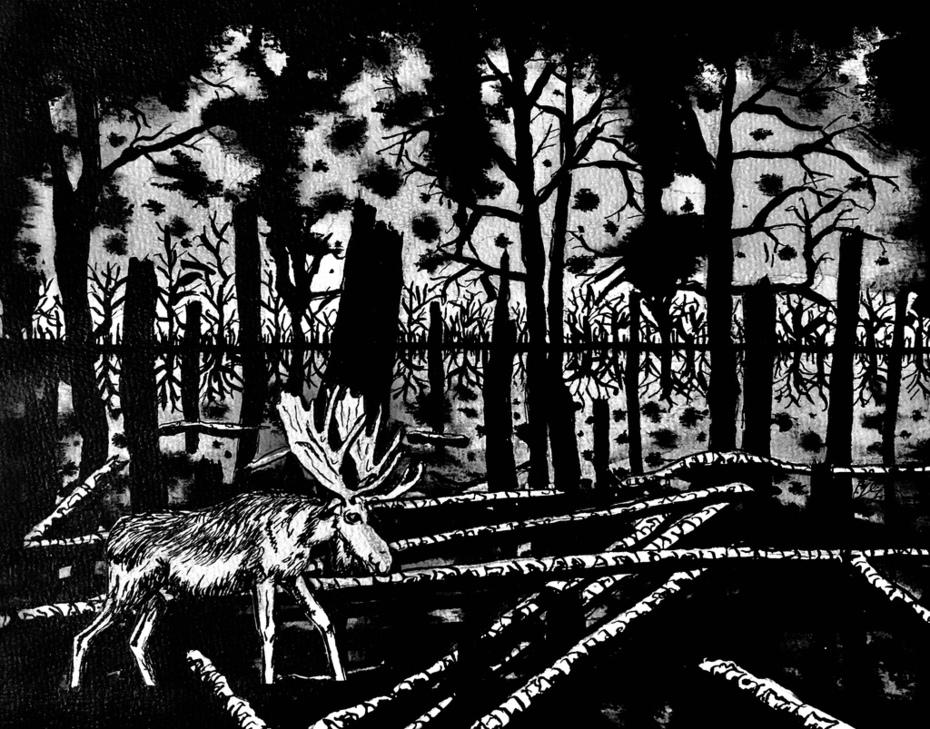 "© Ivo Kamphuis (IK 2019) ""Aamsveen"", 2019 Indian ink on paper, 24 x 30 cm www.ika.exto.nl"