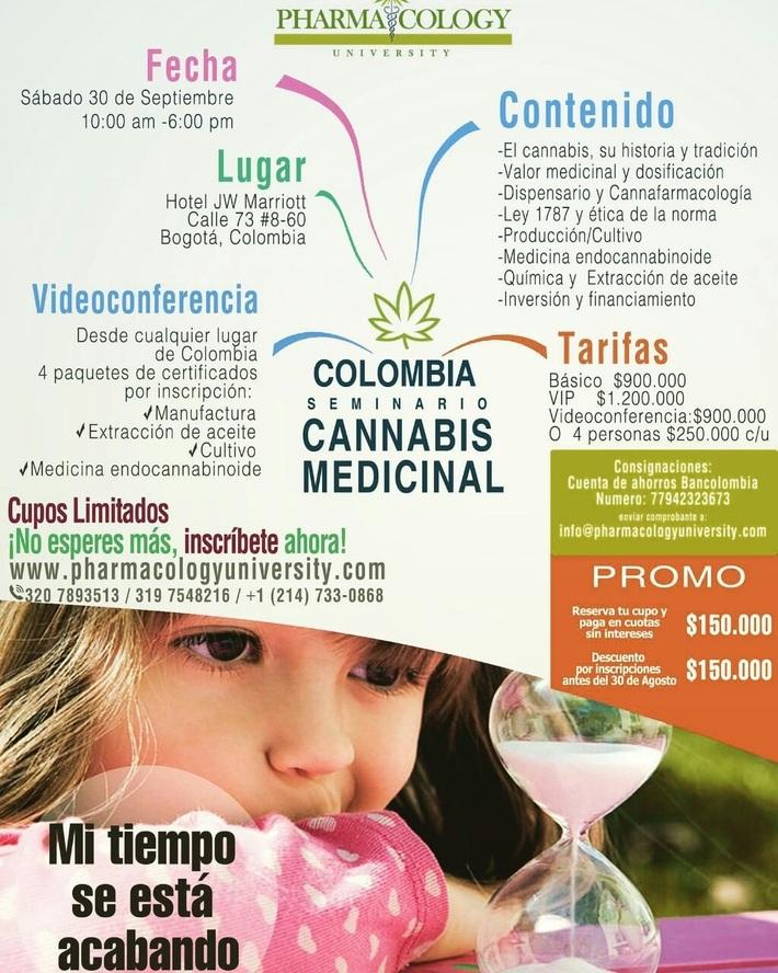 tarifas seminario CANNABIS 30 DE SEPT. en Bogotá