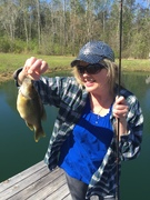 Her first fish in the pond!