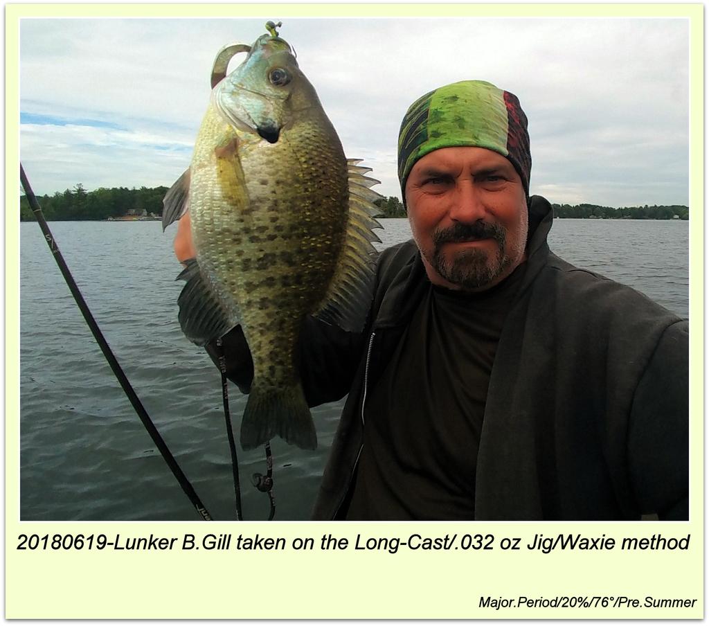 20180619-Lunker B.Gill taken on the Long-Cast/.032 oz Jig/Waxie method