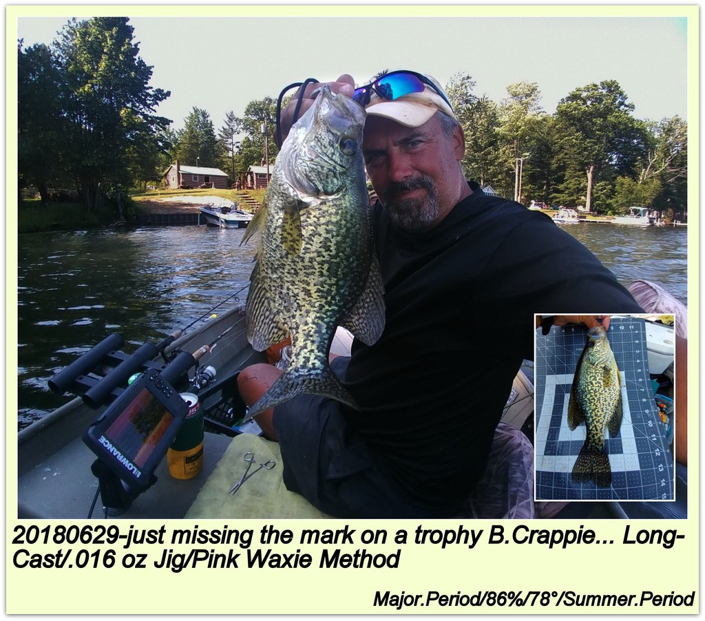 20180629-just missing the mark on a trophy B.Crappie... Long-Cast/.016 oz Jig/Pink Waxie Method