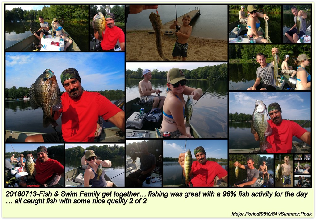 20180713-Fish & Swim Family get together… fishing was great with a 96% fish activity for the day