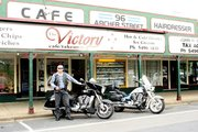 Glen outside Victory Cafe Woodford