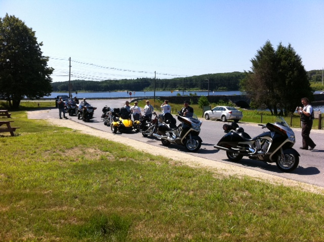 Leg 1 stops for a photo op along the Wachusett Resevoir in Holden MA
