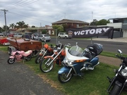 Walk to D-Feet NMD fund raiser- family fun Day- LakesEntrance- 3 Vic's flying the banner in the bike display- 11/10/15