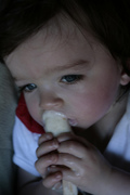 Nolan loves Zora Dora's Sesame honey pop!
