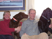 My husband Dean and me with our dogs