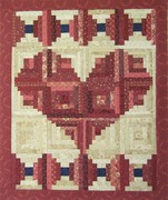 Red log cabin hearts
