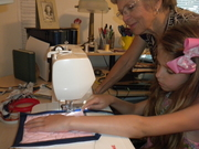 Gracie's first sewing lesson