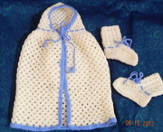 Hooded carry cape with matching booties