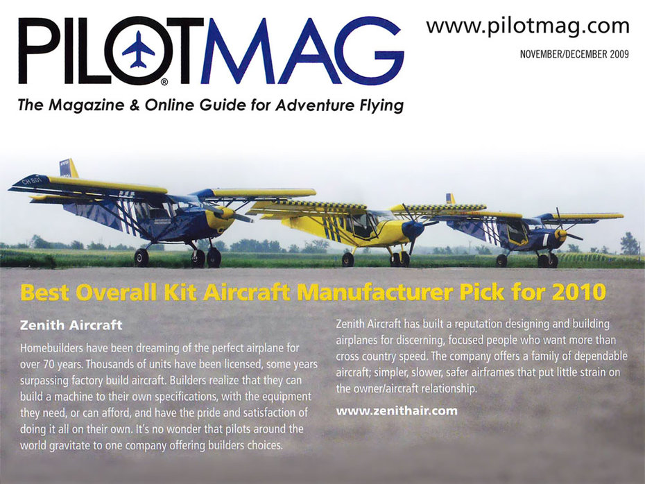 Best Overall Kit Aircraft Manufacturer Pick for 2010