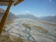 view up rangitata river to cloudy peak
