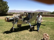 Lloyd w plane in back yard050813