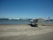 Beach with icebergs in Laguna San Rafael, Chile